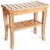 Toilet Tree Products Deluxe Bamboo Shower Seat Bench with Storage Shelf