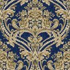 "York Wallcoverings Saint Augustine 33' x 20.5"" Baroque Floral Damask Embossed Wallpaper"