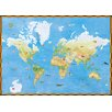 York Wallcoverings Mural Portfolio II Topographical World Map with Animal Pictures Wall Mural