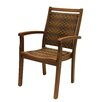 Outdoor Interiors Stackable Resin Wicker and Eucalyptus Arm Chair