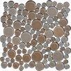 MS International Penny Round Random Sized Glass Pebbles Tile in Biege