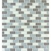 MS International Majestic Ocean Mini Brick Mounted Glass Mosaic Tile in White and Grey