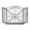 Aspire Fleur De Lis 3 Panel Iron Fireplace Screen