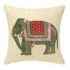 D.L. Rhein Punjabi Elephant Embroidered Decorative Linen Throw Pillow