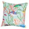 Rennie & Rose Design Group Coastal Tropical Fish Indoor/Outdoor Throw Pillow