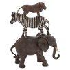 Woodland Imports Polystone African Animals Stack of Elephant, Zebra and Lion Figurine