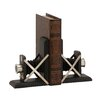 Woodland Imports Attractive Styled Wood Metal Book Ends (Set of 2)