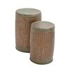Woodland Imports Rustic 2 Piece Metal Stool Set