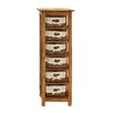 Woodland Imports Storage Unit with Wooden Shelves and Warm Rattan Baskets