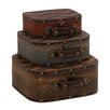 Woodland Imports 3 Piece The Ultra Cool Wood Leather Case Set