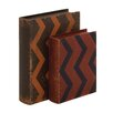 Woodland Imports 2 Piece Creative Styled Fancy Wood Leather Book Box Set