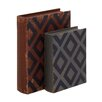 2 Piece Classy Wood Leather Book Box Set