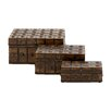 Woodland Imports 3 Piece Classy and Arty Wood Metal Box Set