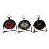 Woodland Imports 3 Piece Metal Table Clock Set
