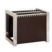 Woodland Imports Slick Stainless Steel Leather Magazine Holder