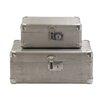 Woodland Imports 2 Piece Wood and Aluminum Case Set