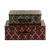 Woodland Imports 2 Piece Elegant and Vintage Themed Wood Vinyl Case Set