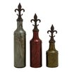Woodland Imports 3 Piece Simply Cool Glass Polystone Decorative Stopper Bottle Set