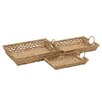 Woodland Imports 3 Piece Simply Amazing Seagrass Tray Set