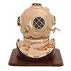 Woodland Imports Unique Metal Wood Decorative Diving Helmet Sculpture