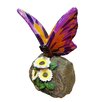 Woodland Imports Butterfly on Rock with Flowers Statue