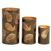 Woodland Imports 3 Piece Gorgeous Metal Hurricane Set