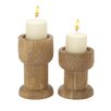Woodland Imports 2 Piece Wood Candlestick Set