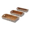 Woodland Imports 3 Piece Serving Tray Set