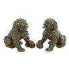 Woodland Imports Ceramic Chinese Lion Figurine (Set of 2)