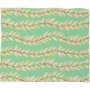 DENY Designs Jacqueline Maldonado Leaf Dot Stripe Mint Fleece Throw Blanket