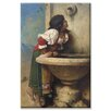 Buyenlarge Roman Girl at a Fountain Painting Print on Wrapped Canvas