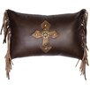 Wooded River Cross Antique Concho and Spots Leather Lumbar Pillow