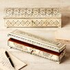 Two's Company 2 Piece Long Flower Design Bone Inlay Box Set with Lock and Key