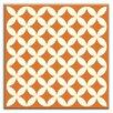 "Oscar & Izzy Folksy Love 4-1/4"" x 4-1/4"" Satin Decorative Tile in Needle Point Orange"