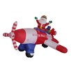 BZB Goods Christmas Inflatable Animated Santa Claus Driving Airplane Decoration