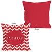 One Bella Casa Holiday Peace Chevron Stripe Throw Pillow