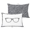 One Bella Casa Leopard Nerd Glasses Lumbar Pillow