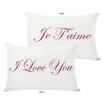 One Bella Casa Je T'aime/I Love You Reversible Lumbar Pillow