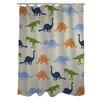One Bella Casa Dino Buddies Stripe Shower Curtain