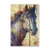 Gizaun Art Signature 1 Stallion  Full Color Cedar Wall Art in Black