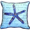 Betsy Drake Interiors Blue Starfish Indoor Outdoor Euro Pillow