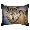 Betsy Drake Interiors Lodge Wolf Indoor/Outdoor Lumbar Pillow