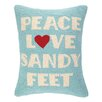 Peking Handicraft Peace Love Sandy Feet Hook Wool Lumbar Pillow