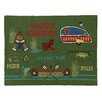 Peking Handicraft Happy Camper Hook Green Area Rug