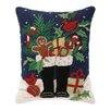 Peking Handicraft Santa's Christmas Boots Hook Wool Throw Pillow