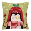 Peking Handicraft Penguin Beanie Hook Wool Throw Pillow