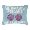 Peking Handicraft Mermaids Welcome Hook Wool Lumbar Pillow