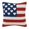 Peking Handicraft Flag with Hearts Wool Throw Pillow