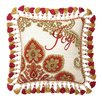 Peking Handicraft Needlepoint Joy Christmas Manor Wool Throw Pillow