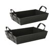 WaldImports Faux Leather Tray (Set of 2)